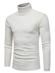 cheap -Men's Weekend Long Sleeves Slim Pullover - Solid Colored Turtleneck