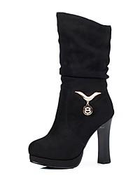 Feminino Sapatos Pele Nobuck Outono Inverno Conforto Botas Salto Grosso Ponta Redonda Para Preto Roxo Verde