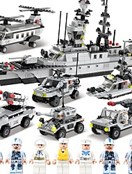 cheap -SHIBIAO Building Blocks Boat Aircraft Carrier Toys Warship Fighter Police Nautical Military DIY Classic Kids Adults' Boys' 1090 Pieces