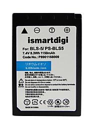 ismartdigi bls5 7.4v 1150mahカメラバッテリーオリンパスのbs-5 e-pl7 epl5 e-p3 e-pm1 / 2 epl3