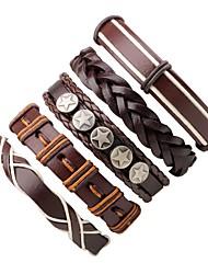 abordables -Bracelets Plusieurs Tours Bracelets en cuir Homme Femme Cuir Bohème Bracelet Bijoux Café Rond Irrégulier pour Plein Air Sortie