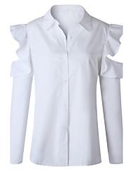 cheap -Women's Daily Work Casual Sexy Spring Fall Shirt,Solid Shirt Collar Long Sleeves Polyester Medium