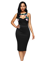Women's Party Club Sexy Bodycon Dress,Embroidered Turtleneck Midi Sleeveless Polyester Spandex Spring High Rise Stretchy Medium
