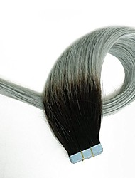 cheap -Tape in Hair Extensions Human Hair Extensions Black to Grey Two Tones Silky Straight Skin Weft Human Remy Real Hair