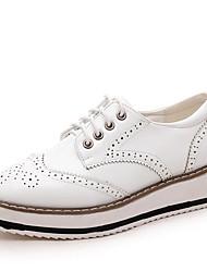 Недорогие -Жен. Обувь Дерматин Весна Осень Удобная обувь Гладиаторы Туфли на шнуровке Туфли на танкетке Круглый носок Комбинация материалов для