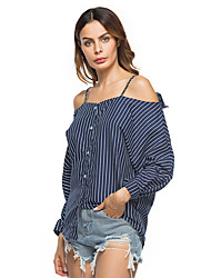 Women's Holiday Casual/Daily Street chic Fall Winter Shirt,Striped Strap Long Sleeves Polyester