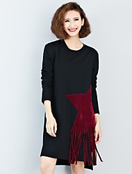 Women's Casual/Daily Loose Dress,Solid Round Neck Knee-length Long Sleeves Polyester Fall Mid Rise Inelastic Thick