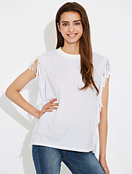 Women's Going out Beach Holiday Vintage Simple Street chic Summer T-shirt,Solid Round Neck Sleeveless Cotton Thin