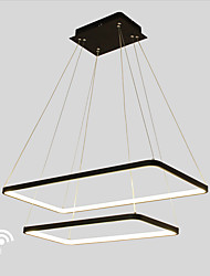 Dimmable LED 90W Pendant Light  Rectangle Frame Modern/Comtemporary Black White Feature for  Living Room Dining Room With Remote Controller
