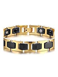 billige -Herre Kæde & Lænkearmbånd Armbånd Multi-sten Natur Mode Titanium Stål Cirkelformet Smykker Smykker Til Daglig