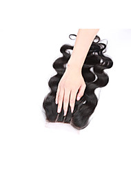 cheap -12 Inches Grade 8A 4x4 Lace Top Closure 100% Brazilian Human Hair 3 Part/Middle Part/Free Part #1B Natural Black Body Wave Hair Closure 1 Pcs