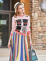 BLUEOXY Women's Casual/Daily Work Regular Pullover,Print Round Neck 3/4 Length Sleeves Wool Acrylic Fall Winter Medium Micro-elastic