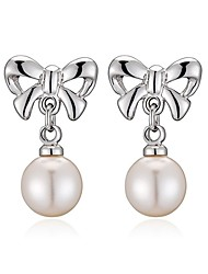 cheap -Women's Drop Earrings AAA Cubic Zirconia Imitation Pearl Bohemian Gold Plated Bowknot Jewelry Silver Party Birthday Daily Office & Career