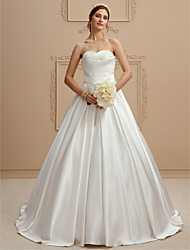 A-Line Strapless Court Train Satin Wedding Dress with Criss Cross Criss-Cross Side Draping by LAN TING BRIDE®