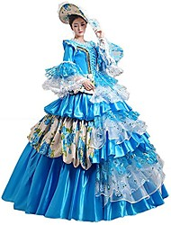 cheap -Witch Princess Queen Cosplay Costumes Halloween Carnival New Year Festival / Holiday Halloween Costumes Blue Print Solid Color Lace