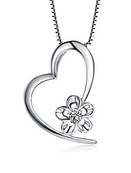 cheap -Women's Heart Flower Love Heart Pendant Necklace AAA Cubic Zirconia Sterling Silver Zircon Pendant Necklace , Party Gift