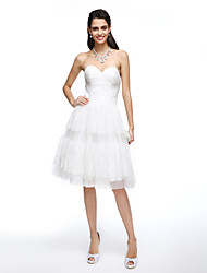 A-Line Sweetheart Knee Length Lace Tulle Wedding Dress with Criss-Cross by LAN TING BRIDE®