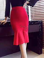 cheap -Women's Going out Club Above Knee Skirts,Vintage Street chic Bodycon Trumpet/Mermaid Solid All Seasons