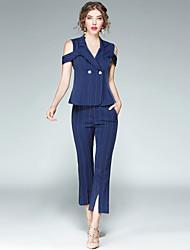 cheap -EWUS Women's Daily Work Street chic Summer Shirt Pant Suits,Striped Peter Pan Collar Short Sleeve Polyester Inelastic