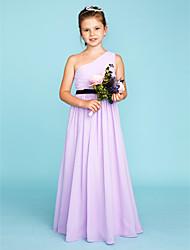 baratos -Linha A Princesa Assimétrico Longo Chiffon Vestido de Daminha de Honra com Faixa / Fita Drapeado Lateral de LAN TING BRIDE®
