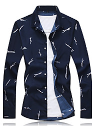 Men's Plus Size Casual/Daily Work Simple Spring Fall Shirt,Print Shirt Collar Long Sleeves Cotton Polyester Medium