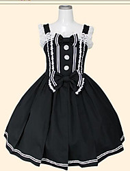 One-Piece/Dress Sweet Lolita Princess Cosplay Lolita Dress Black Solid Color Sleeveless Knee-length Corset For Cotton