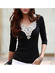 Women's Going out Casual T-shirt,Embroidery V Neck Long Sleeves Polyester