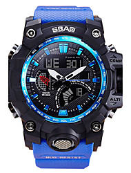 cheap -Men's Sport Watch / Wrist Watch Calendar / date / day / Water Resistant / Water Proof / LCD PU Band Casual / Fashion Blue / Red / Dual Time Zones / Stopwatch