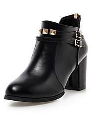 cheap -Women's Shoes PU Fall / Winter Bootie / Fashion Boots / Novelty Boots Chunky Heel Pointed Toe Booties / Ankle Boots Rivet / Zipper for
