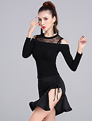 cheap -Latin Dance Outfits Women's Performance Modal Lace Milk Fiber Lace 2 Pieces Long Sleeve Natural Skirts Tops