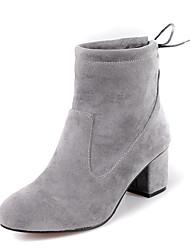 Недорогие -Для женщин Обувь Дерматин Зима Модная обувь Ботильоны Ботинки На толстом каблуке Круглый носок Ботинки Шнуровка Назначение Повседневные