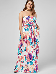 Women's Plus Size Beach Holiday Casual/Daily Vintage Simple Loose Dress,Floral Strapless Maxi Sleeveless Cotton Polyester Summer High Rise
