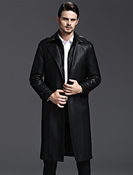 Men's Plus Size Chinoiserie Winter Trench Coat,Solid Shirt Collar Long Sleeve Long Lambskin