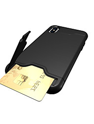Per iPhone X iPhone 8 iPhone 8 Plus iPhone 7 Custodie cover Porta-carte di credito Con supporto Custodia posteriore Custodia Tinta unica