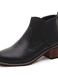 baratos -Mulheres Sapatos Couro Ecológico Outono Inverno Botas da Moda Conforto Botas Salto de bloco Ponta Redonda Botas Curtas / Ankle Elástico