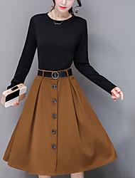 Gaine Robe Femme Sortie Décontracté / Quotidien simple Chic de Rue,Mosaïque Col Arrondi Mi-long Manches Longues Polyester Printemps