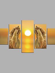 abordables -Impressions sur toile roulées Abstrait, Cinq Panneaux Toile Format Horizontal Imprimé Décoration murale Décoration d'intérieur