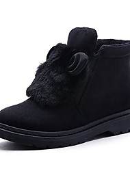 Women's Shoes Flocking Fall Winter Fluff Lining Snow Boots Boots Booties/Ankle Boots For Casual Outdoor Gray Black