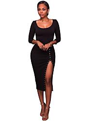 Moulante Robe Femme Soirée Sexy,Couleur Pleine Col Arrondi Midi Manches 3/4 Polyester Spandex Eté Taille Haute Elastique Moyen