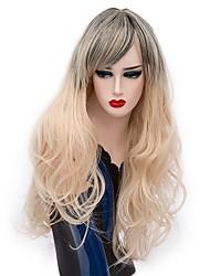 Women Synthetic Wig Capless Long Deep Wave Light golden Ombre Hair Halloween Wig Costume Wigs