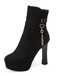 cheap -Women's Shoes Leatherette Winter Fashion Boots Boots Chunky Heel / Platform Round Toe Booties / Ankle Boots Buckle / Zipper Black / Dark