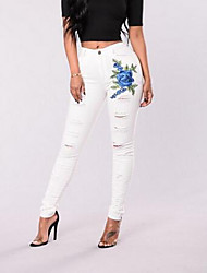 cheap -Women's High Rise Micro-elastic Skinny Slim Jeans Pants, Casual Embroidered Spring Summer