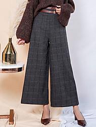cheap -Women's High Rise Micro-elastic Wide Leg Pants Striped Fall