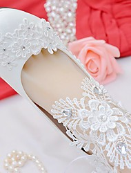 cheap -Women's Shoes Lace Leatherette Spring Fall Comfort Wedding Shoes Stiletto Heel Round Toe Rhinestone Bowknot Applique Stitching Lace