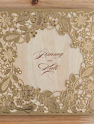 Недорогие -Открытка-карман Свадебные приглашения Пригласительные билеты Классический Тиснённая бумага