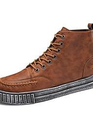 baratos -Homens sapatos Courino Primavera / Outono Botas da Moda / Conforto Tênis Preto / Marron
