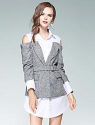 baratos -Mulheres Diário Para Noite Moda de Rua Evasê Acima do Joelho Vestido Sólido Colarinho de Camisa Manga Longa Algodão Outono
