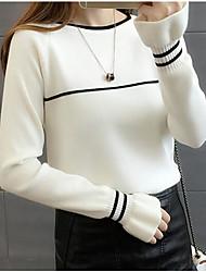 preiswerte -Damen Standard Pullover-Lässig/Alltäglich Ausgehen Gestreift Rundhalsausschnitt Langarm Polyester Herbst Winter Dick Mikro-elastisch