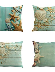Set Of 4 New Mediterranean Shell Starfish Pillow Cover 45*45Cm Pillow Case