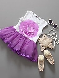 Girl's Holiday Solid Dress,Cotton Summer Sleeveless Lace Purple